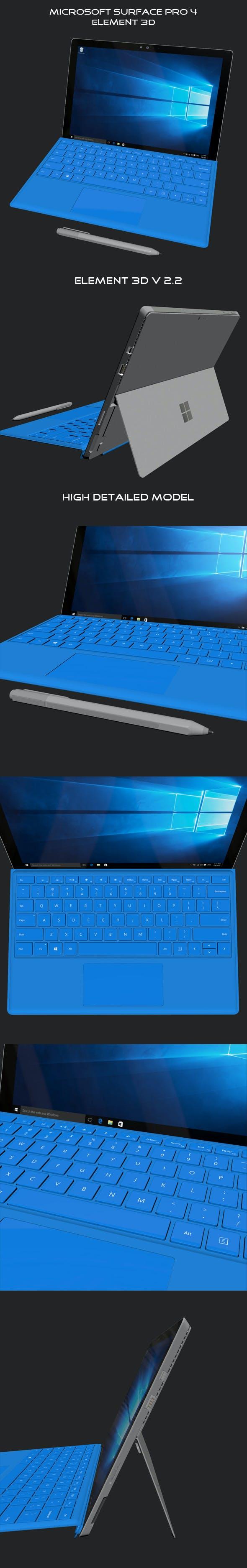 Element 3D Microsoft Suraface Pro 4 - 3DOcean Item for Sale