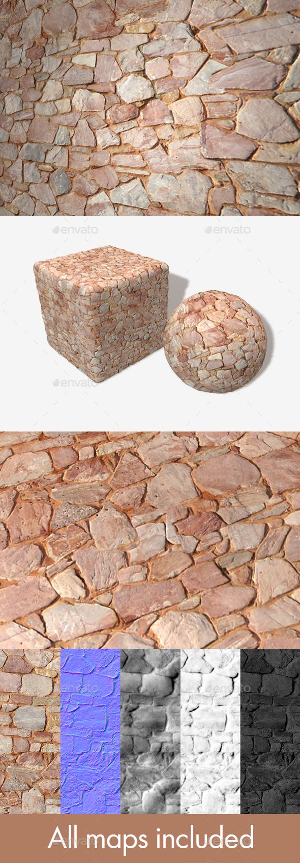 Pink Sandy Stone Wall Seamless Texture - 3DOcean Item for Sale