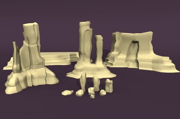 Low Poly Cliffs and Rocks Set - 3DOcean Item for Sale
