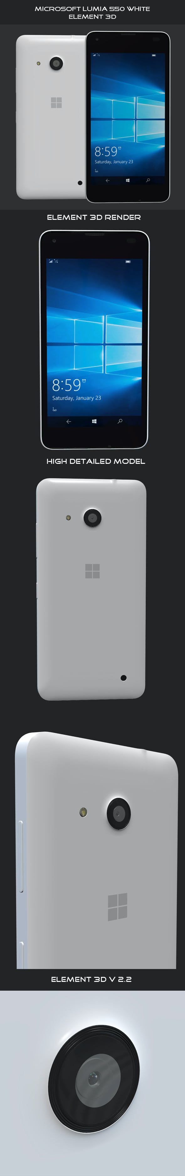 Microsoft Lumia 550 White - 3DOcean Item for Sale