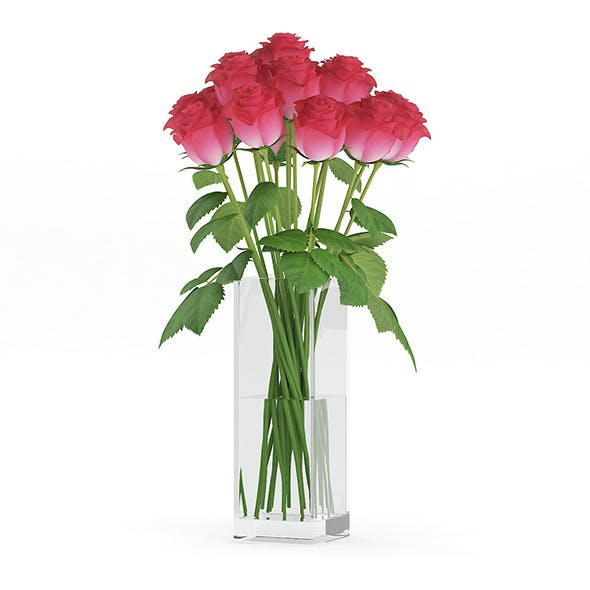 Red Roses in Glass Vase - 3DOcean Item for Sale