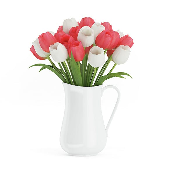 Red and White Tulips - 3DOcean Item for Sale
