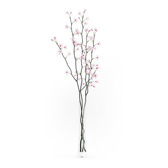 Flowering Tree Twigs in Glass Vase - 3DOcean Item for Sale