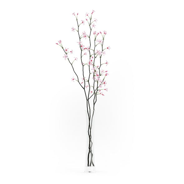 Flowering Tree Twigs in Glass Vase