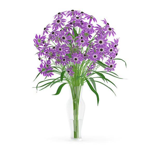 Purple Flowers in Glass Vase - 3DOcean Item for Sale