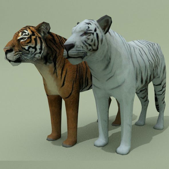 Low Poly Tiger (Red & White)