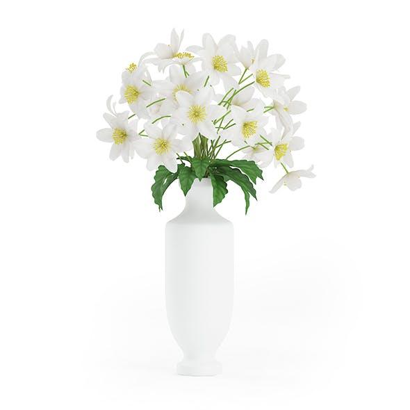 White Flowers in Tall Vase - 3DOcean Item for Sale