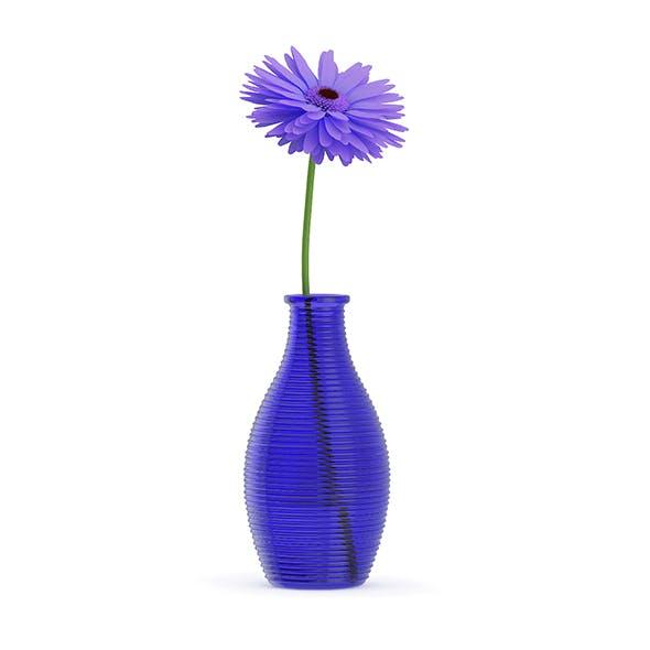 Small Purple Flower in Blue Vase - 3DOcean Item for Sale