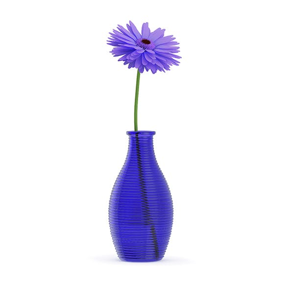 Small Purple Flower in Blue Vase