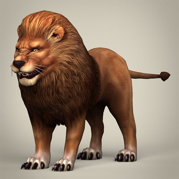 Game Ready Realistic Lion - 3DOcean Item for Sale