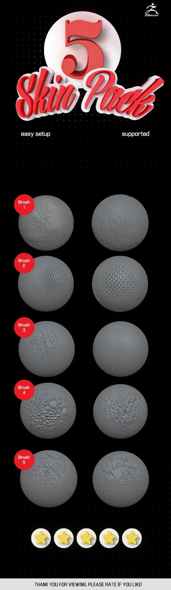 5 Skin brush pack ZBrush vol.1 - 3DOcean Item for Sale