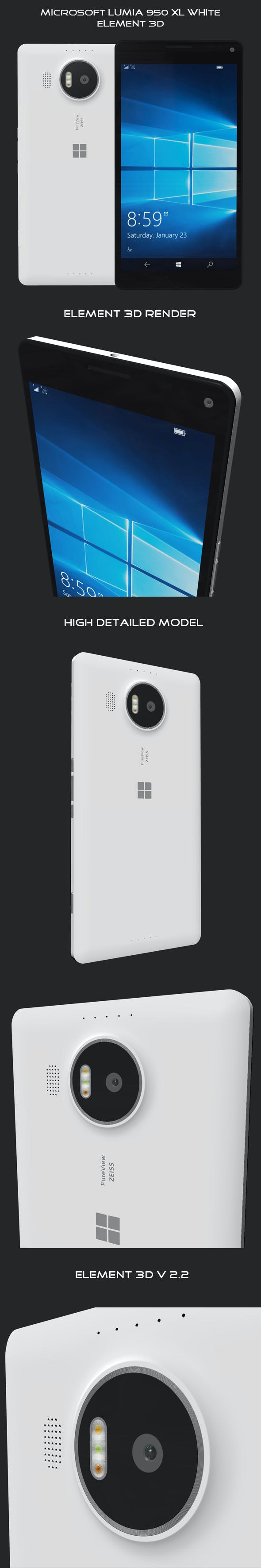 Element 3D Microsoft Lumia 950 XL White - 3DOcean Item for Sale