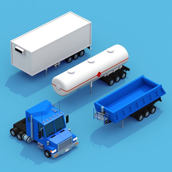 Truck with three trailers