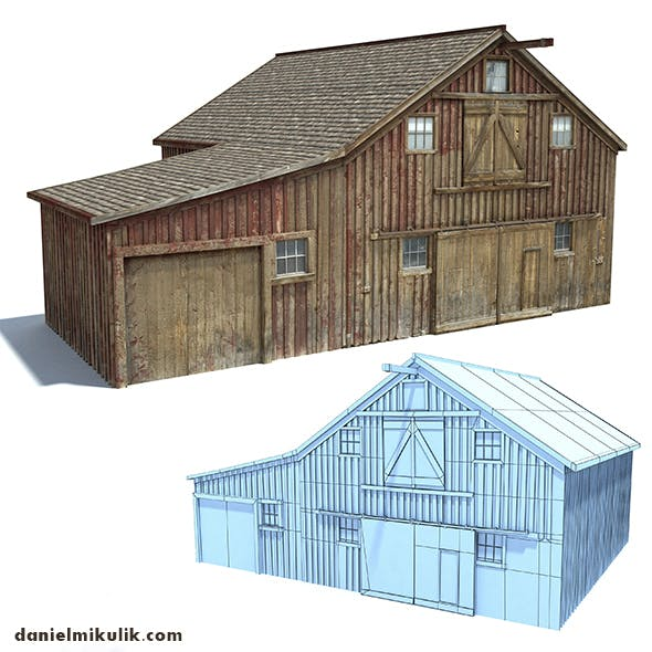Low Poly Wild West Barn