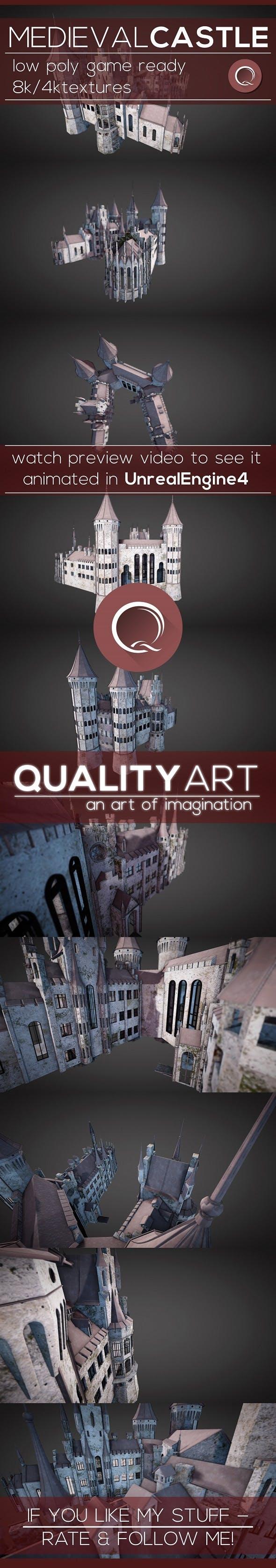 Low Poly Medieval Castle - Models Pack - 3DOcean Item for Sale