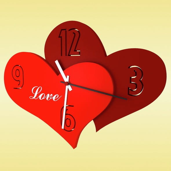 "Wall clock ""Love"" - 3DOcean Item for Sale"