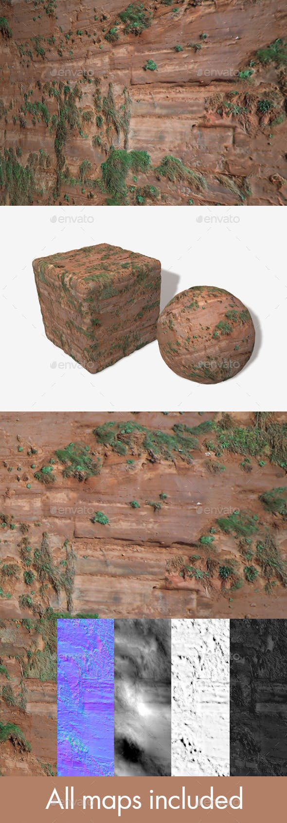 Grassy Red Cliff Seamless Texture - 3DOcean Item for Sale