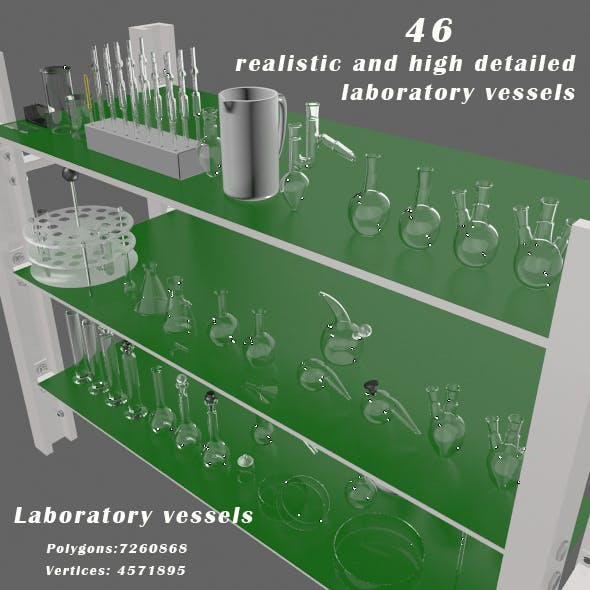 Laboratory vessels - 3DOcean Item for Sale