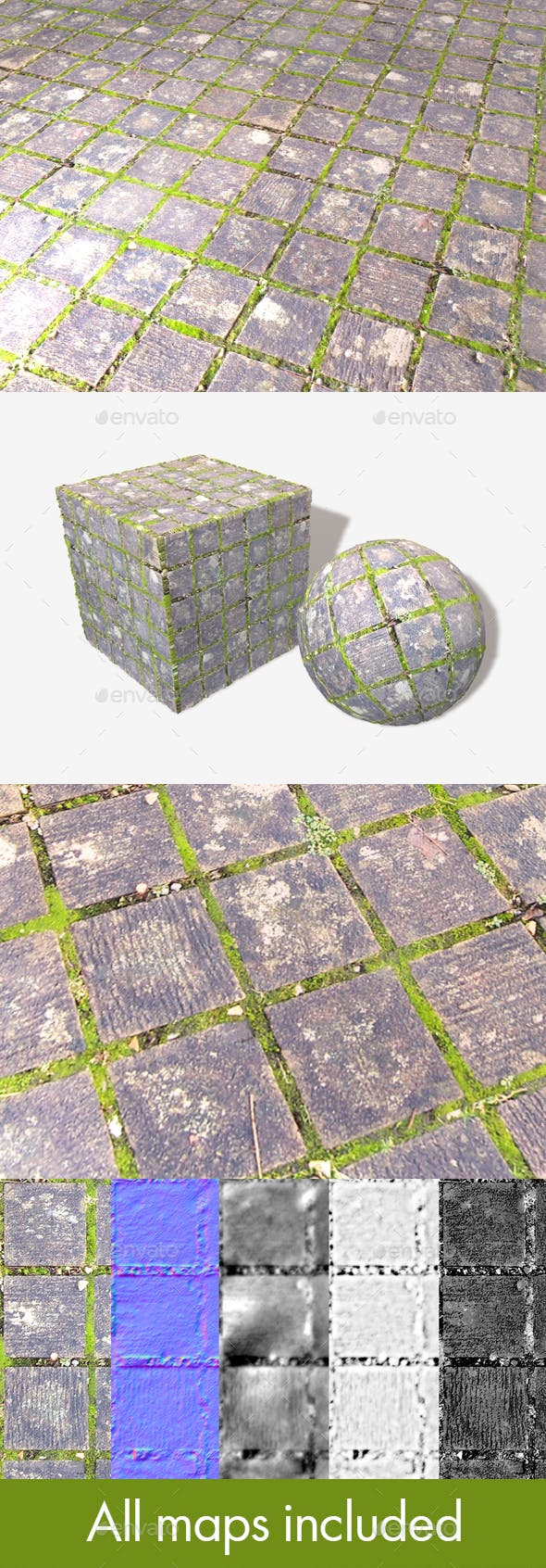 Mossy Square Cobbles Seamless Texture - 3DOcean Item for Sale