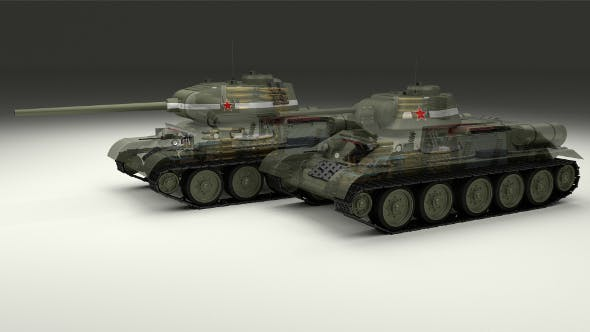 T-34-76/85 w Engine Bay and Interior - 3DOcean Item for Sale