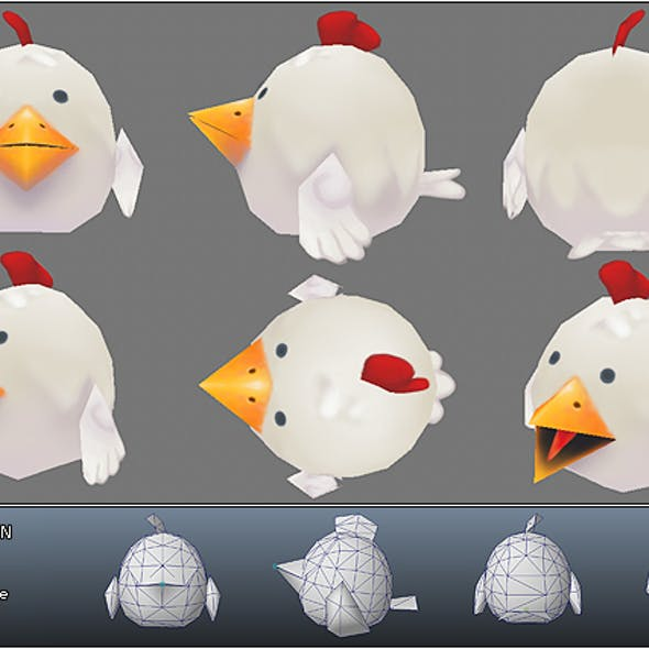 Low Poly Micro Rooster Rudy