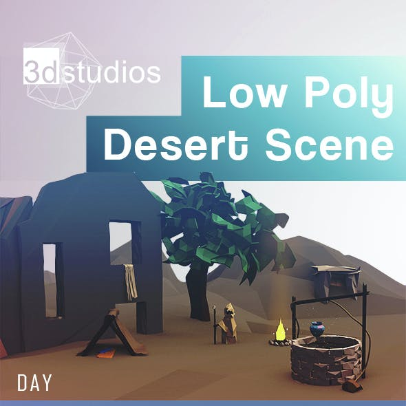 Low Poly Desert Scene