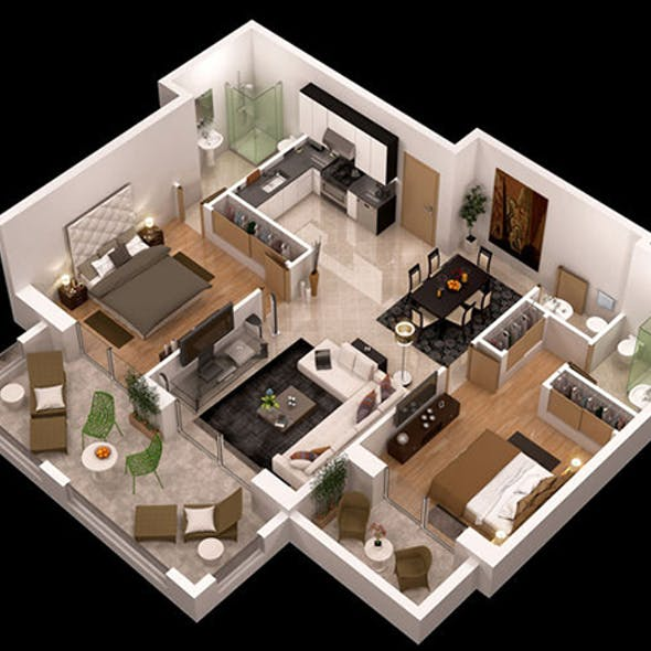 detailed 3d apartment