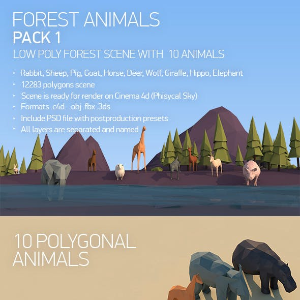 Low Poly Forest Animals Pack 1