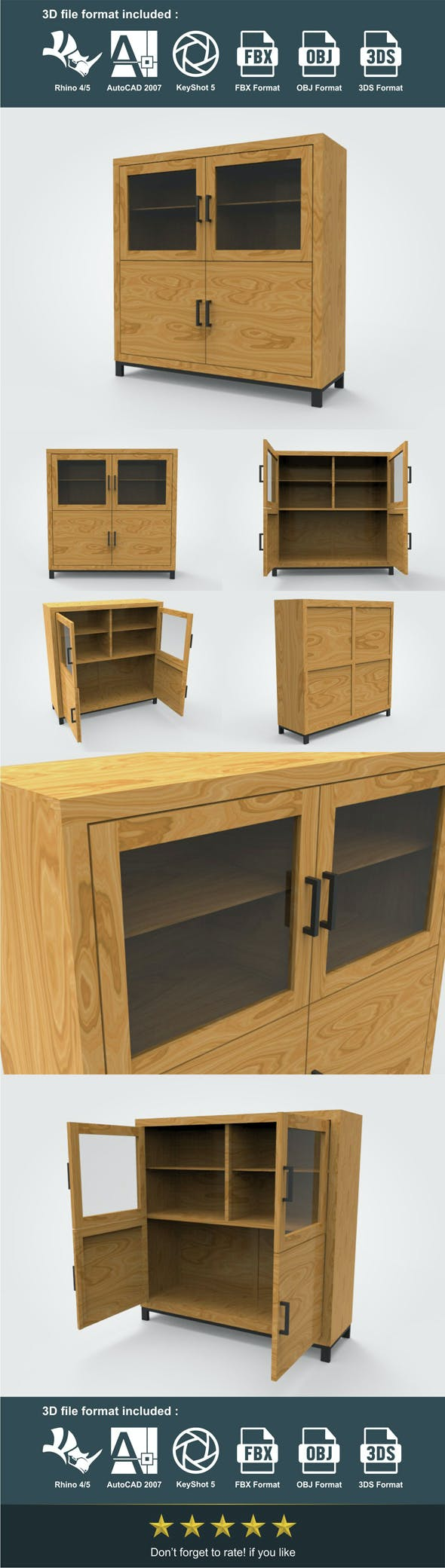 Highboard 138 x 45 x 140 cm - 3DOcean Item for Sale