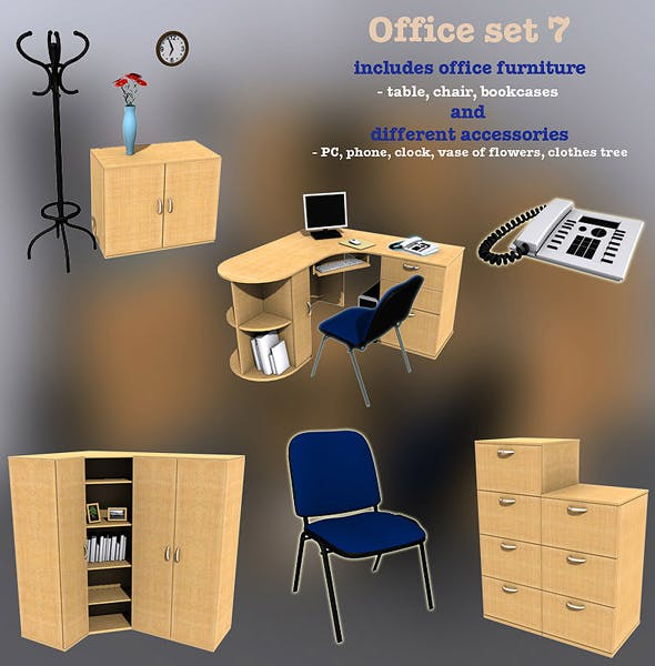 Office set 7 - 3DOcean Item for Sale