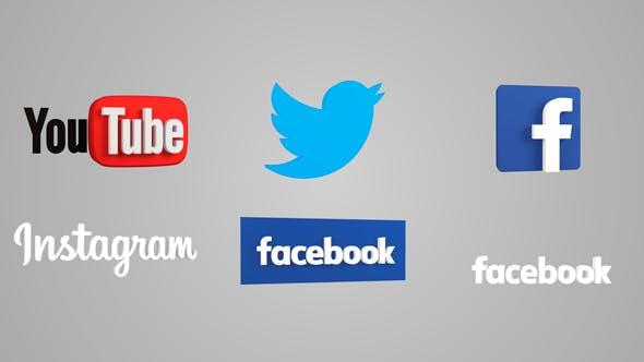 Facebook, YouTube, Twitter, Instagram 3D icons - 3DOcean Item for Sale