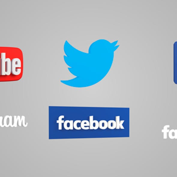 Facebook, YouTube, Twitter, Instagram 3D icons