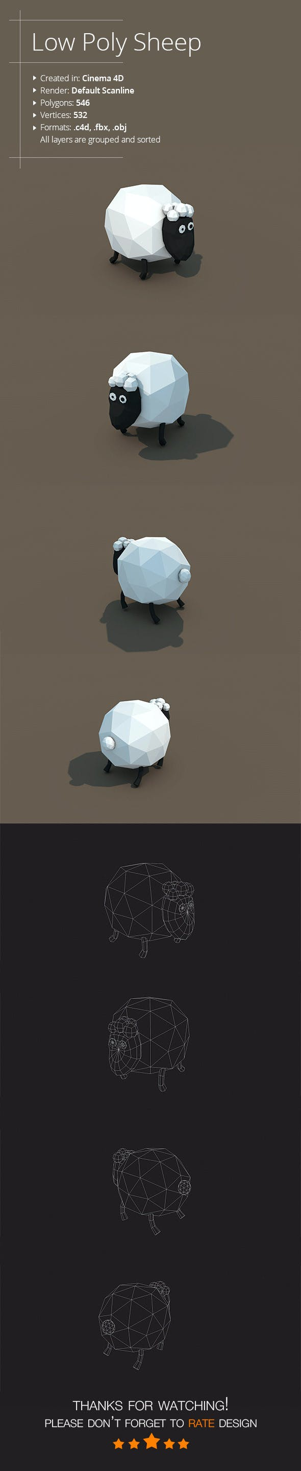 Low Poly Sheep - 3DOcean Item for Sale
