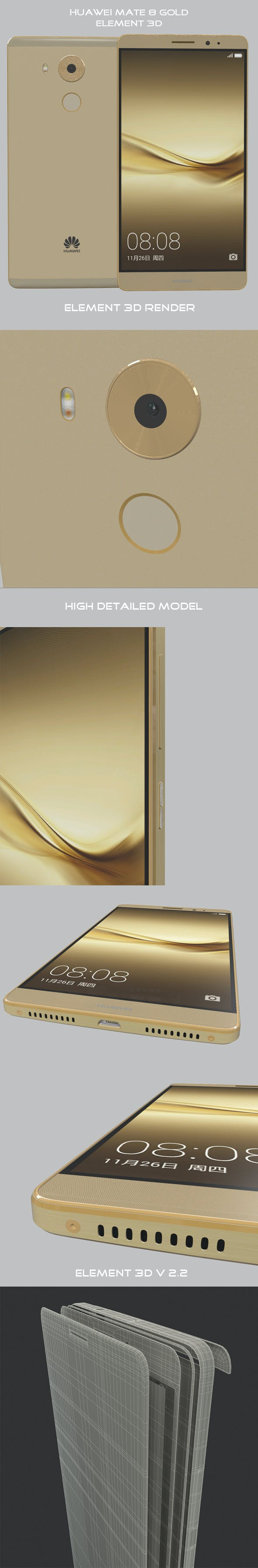 Element 3D Huawei Mate 8 Gold - 3DOcean Item for Sale