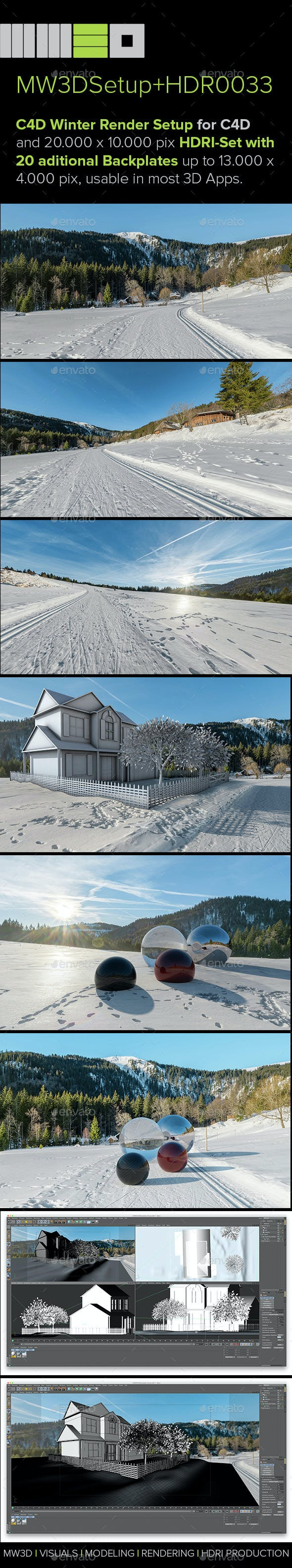 MW3DHDR0033 Highres Winter Snow HDRI Set + 2 Render Setups for Cinema 4D - 3DOcean Item for Sale