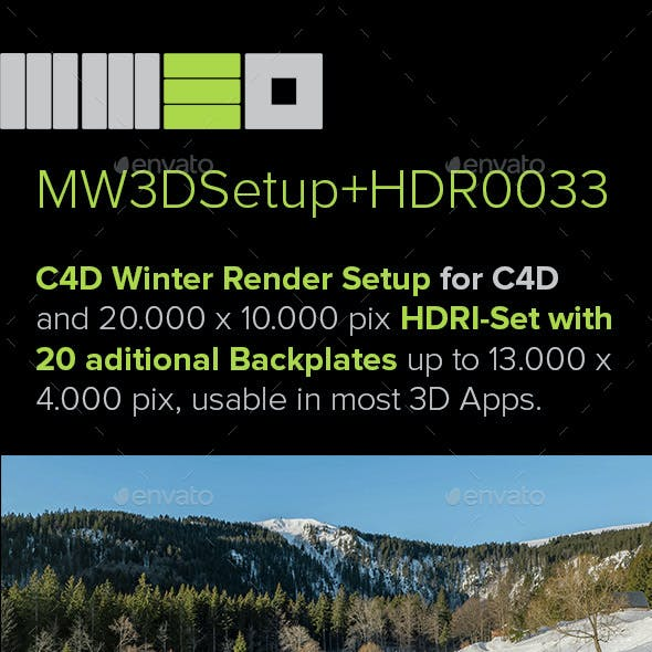 MW3DHDR0033 Highres Winter Snow HDRI Set + 2 Render Setups for Cinema 4D