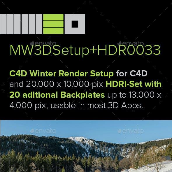 MW3DHDR0033 Highres Winter Snow HDRI Set + 2 Render Setups for Cinema 4D