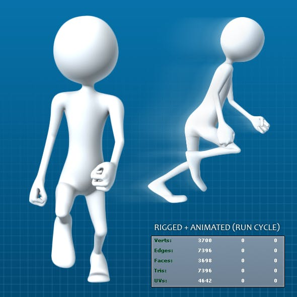 Animated Basic Stick-Man Character - 3DOcean Item for Sale