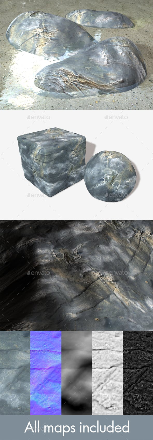 Drying Ocean Rock Seamless Texture - 3DOcean Item for Sale