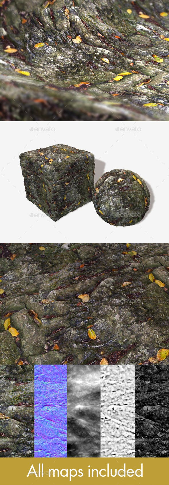 Wet Leafy Rock Seamless Texture - 3DOcean Item for Sale