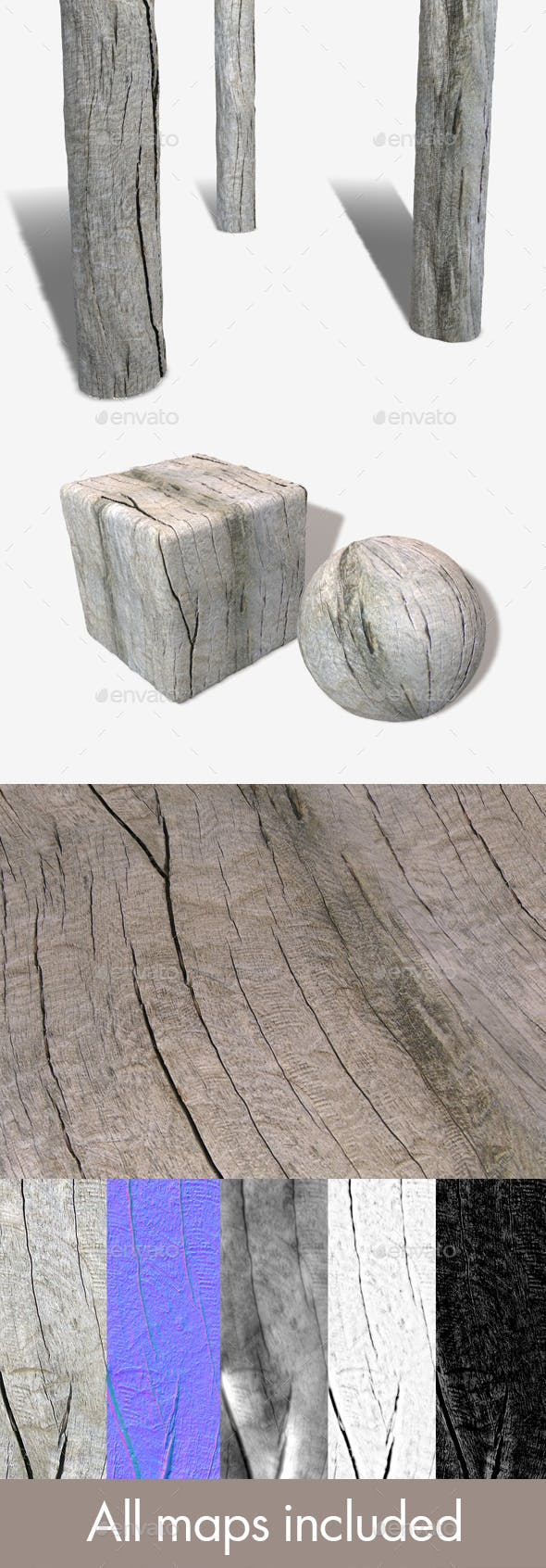Driftwood Seamless Texture - 3DOcean Item for Sale