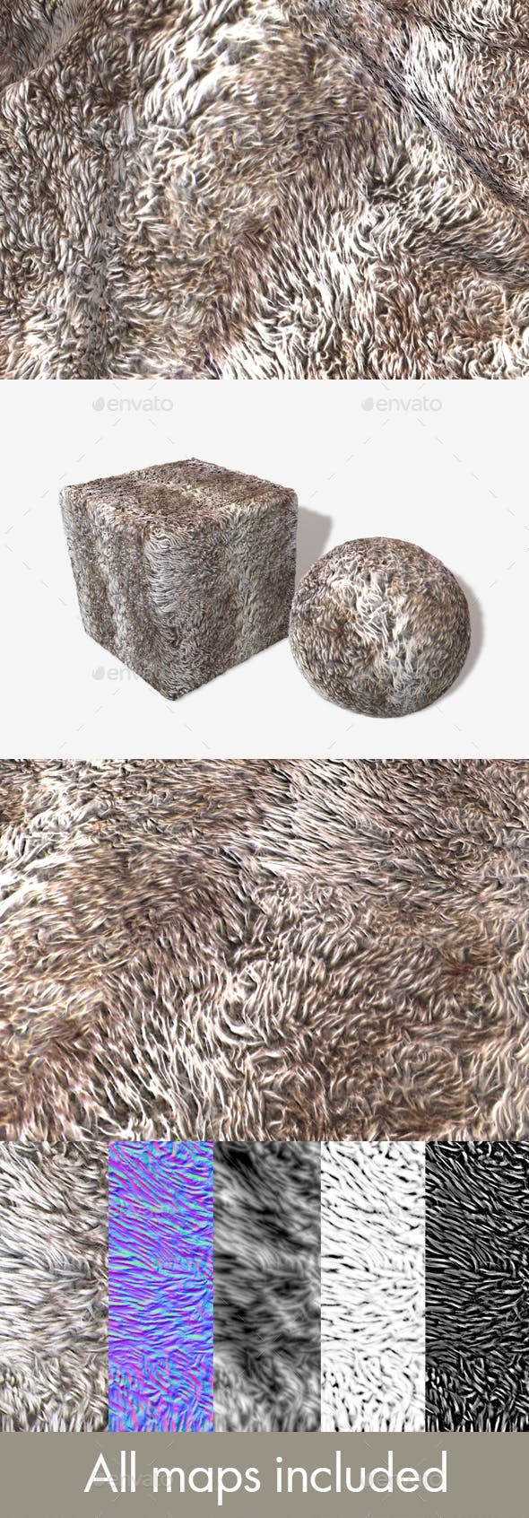 Striped Shaggy Fur Seamless Texture - 3DOcean Item for Sale