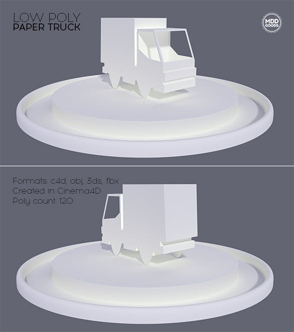 Low Poly Paper Truck - 3DOcean Item for Sale
