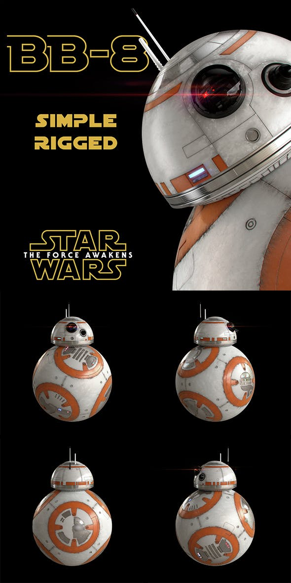 BB-8 Star Wars Droid Simple Rigged - 3DOcean Item for Sale