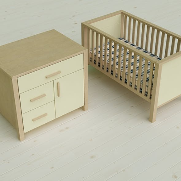 Pierre Cardin 3D  Baby Cot & Changing Cabinet