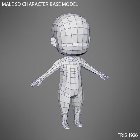 Male SD Character Base Low Poly Model