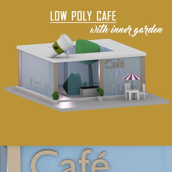 Low Poly Cafe with Inner Garden