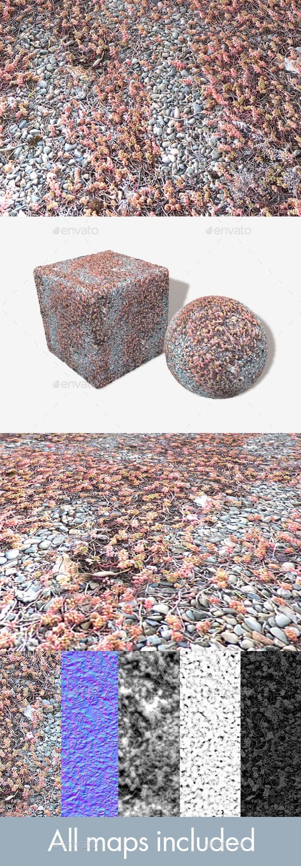 Blue Gravel Red Weeds Seamless Texture - 3DOcean Item for Sale