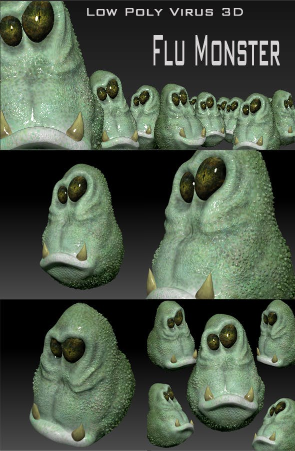 Low Poly Virus3D Flu Monster - 3DOcean Item for Sale