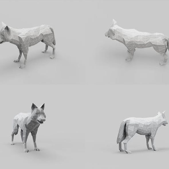 Low Poly Mesh Wolf